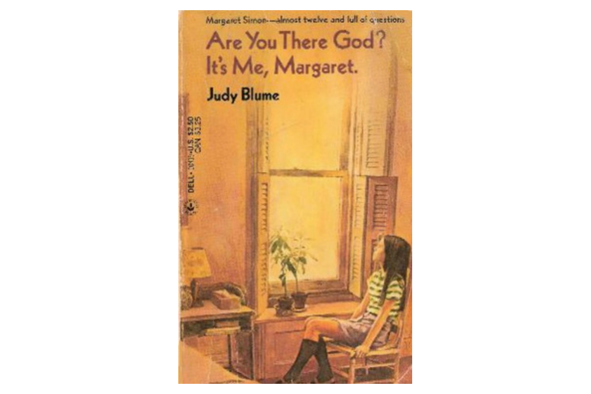cover of are you there god, it's me margaret, featuring a little girl with black long hair sitting by the window looking out up to the sky