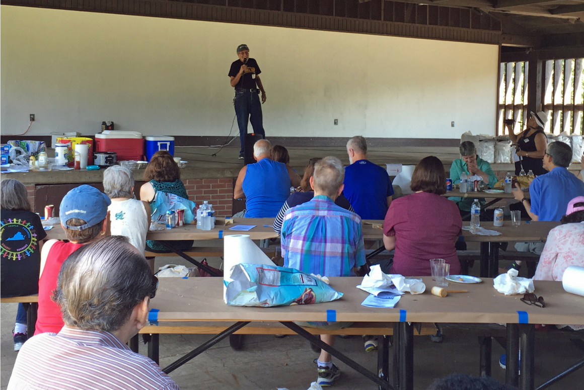 ACLU-VA Board President Steve Levinson spoke to members of the ACLU-VA's Northern Virginia chapter at their annual 2017 CrabFest