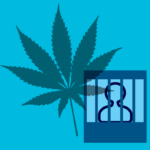 Marijuana leaf and silhouette of person in jail