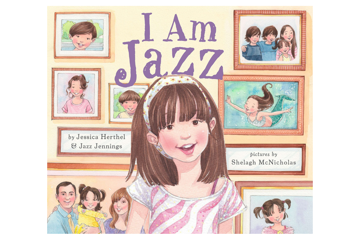 cover of I am Jazz by Jazz Jenning: a trans girl with hazelnut shoulder-length hair in front with several family portraits in the background.