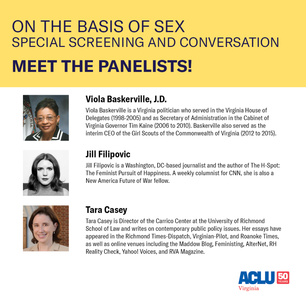 Bios and profile pictures of our panelists for the conversation following On The Basis of Sex movie screening