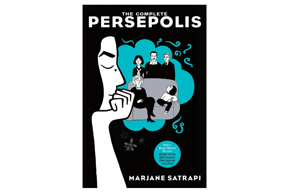 cover of persepolis by marjane satrapi, with a thinking iranian woman and her family in a bubble thought