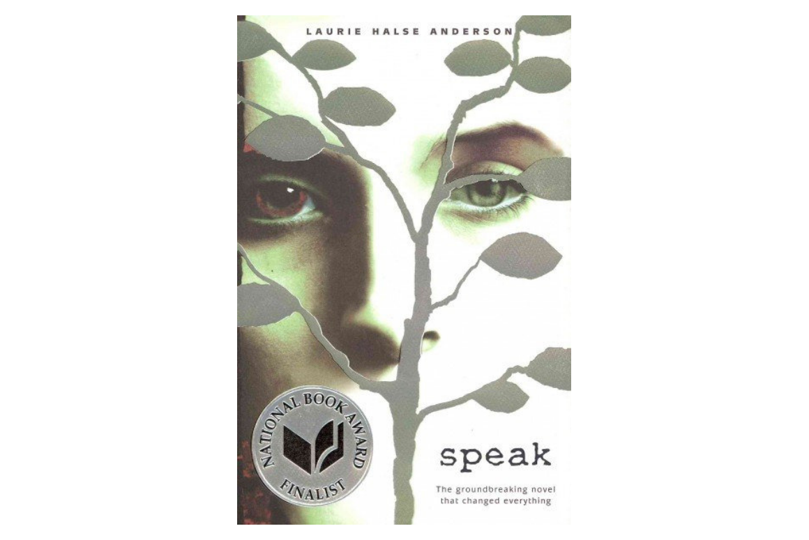 cover of Speak by Laurie Halse Anderson: Portrait of a woman in the background with a silhouette of a tree in front