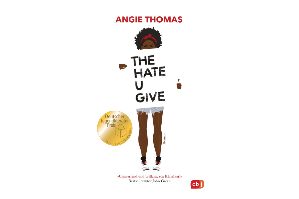 cover of the hate u give by angie thomas, featuring a black girl holding a sign that spells out the title of the book