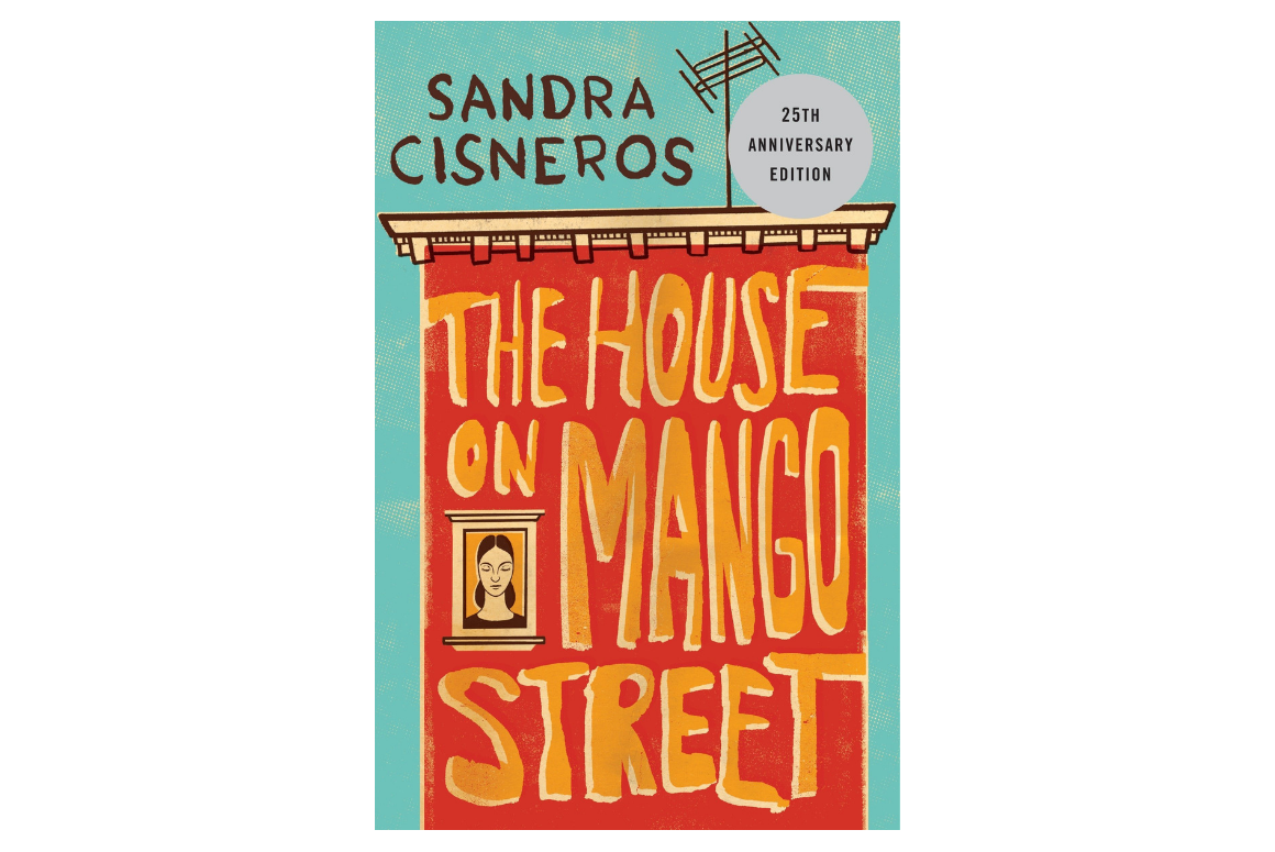 cover of the house on mango street by sandra cisneros: a red house with yellow lettering spelling out the title of the book