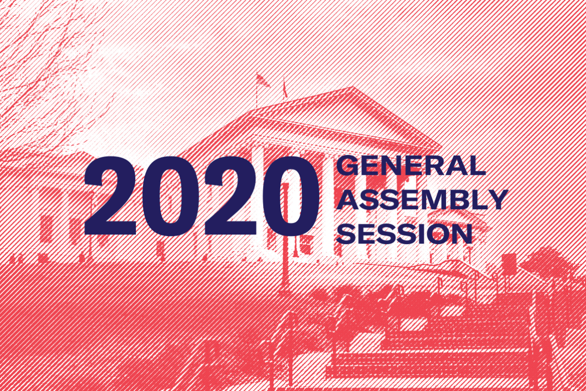 "banner that says ""2020 General Assembly Session"" with the Capitol in the background"
