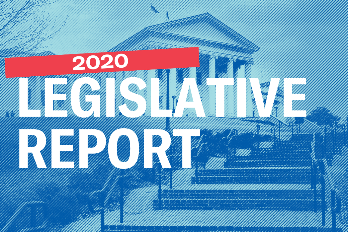 """Virginia Capitol in the background with the text """"2020 Legislative Report"""" in front"""