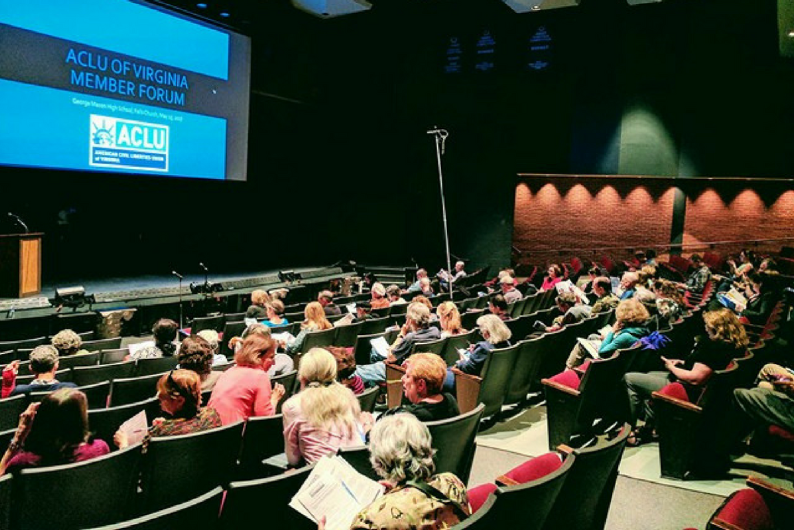 A roomful of members attending the first-ever ACLU-VA's member forum in 2017