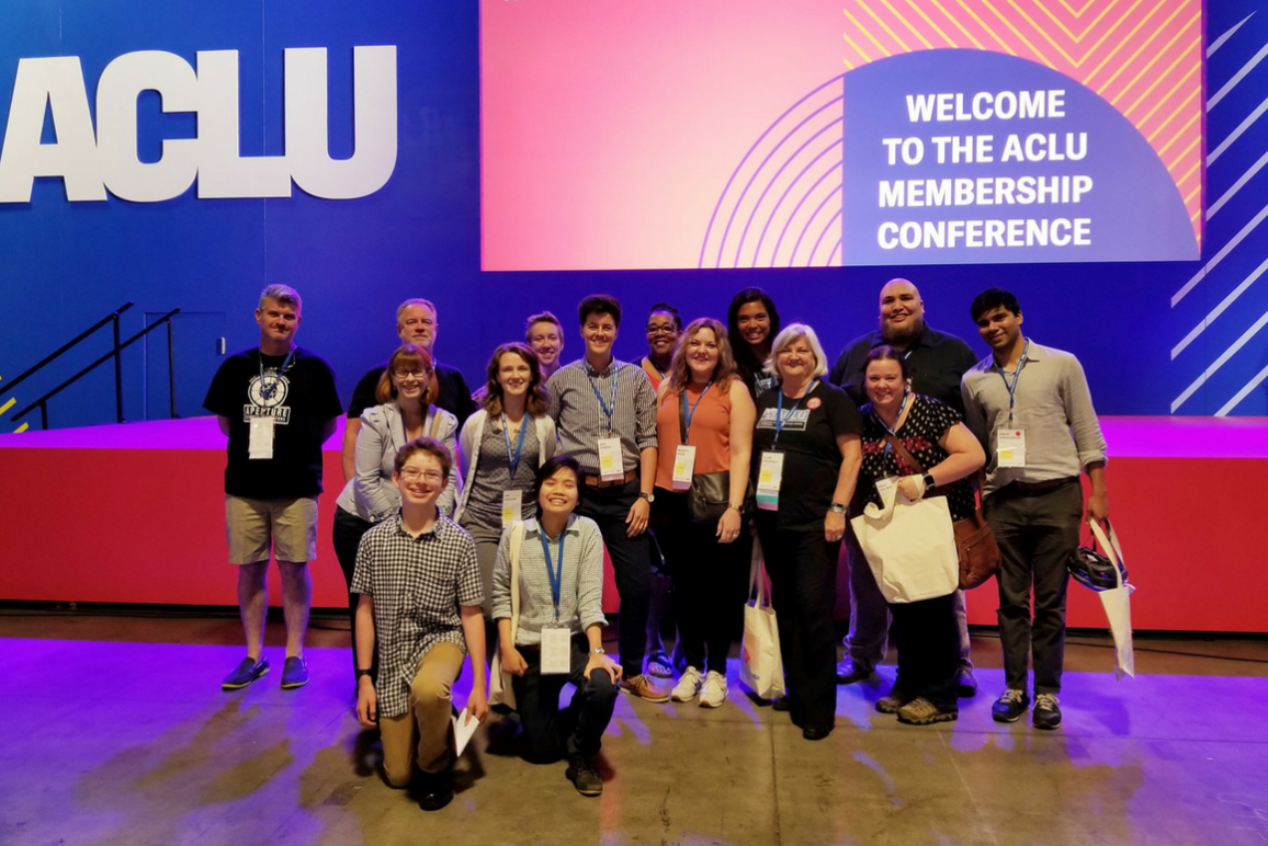 The ACLU of Virginia, along with 13-year-old activist Henry Haggard, against the stage at the ACLU National Membership Conference in Washington D.C. in the summer of 2018