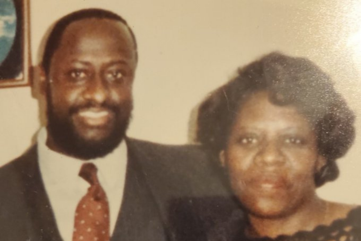 a photo of Askia Amar with his wife