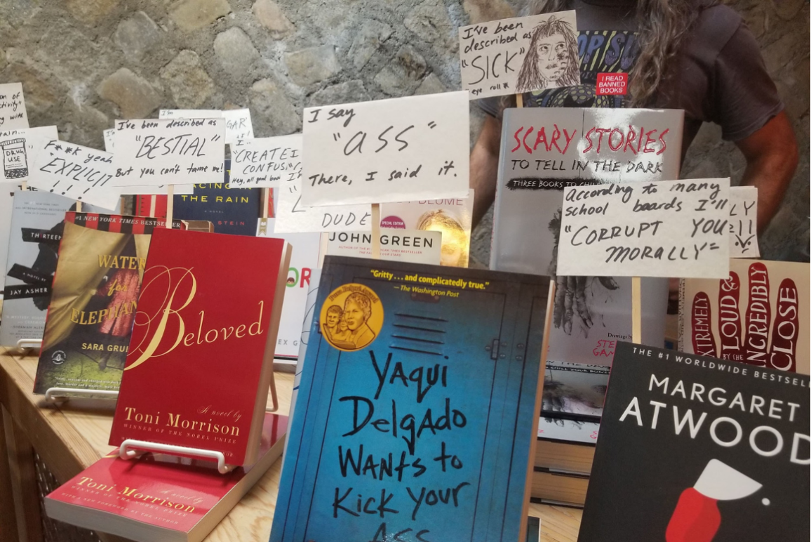 A display of banned books in which the books look like they are holding protest signs about the reasons why they were banned or challenged