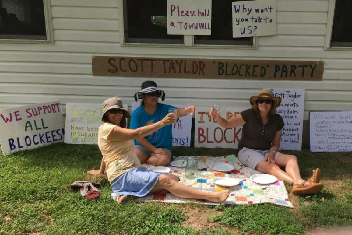 "Scott Taylor's constituents held a ""blocked party"" on their lawn."
