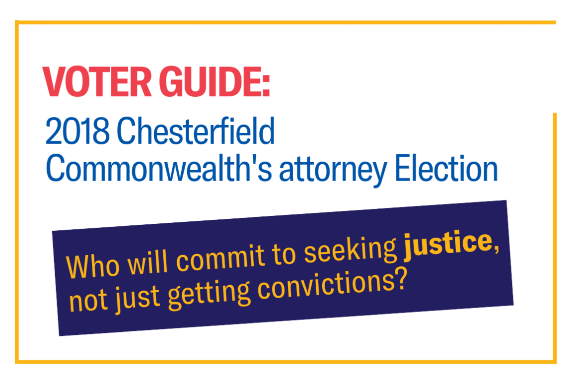 A simple graphic that says Voter Guide: 2018 Chesterfield Commonwealth's attorney election