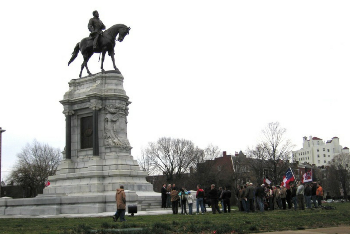 People gather at Lee Statue in Richmond for a protest