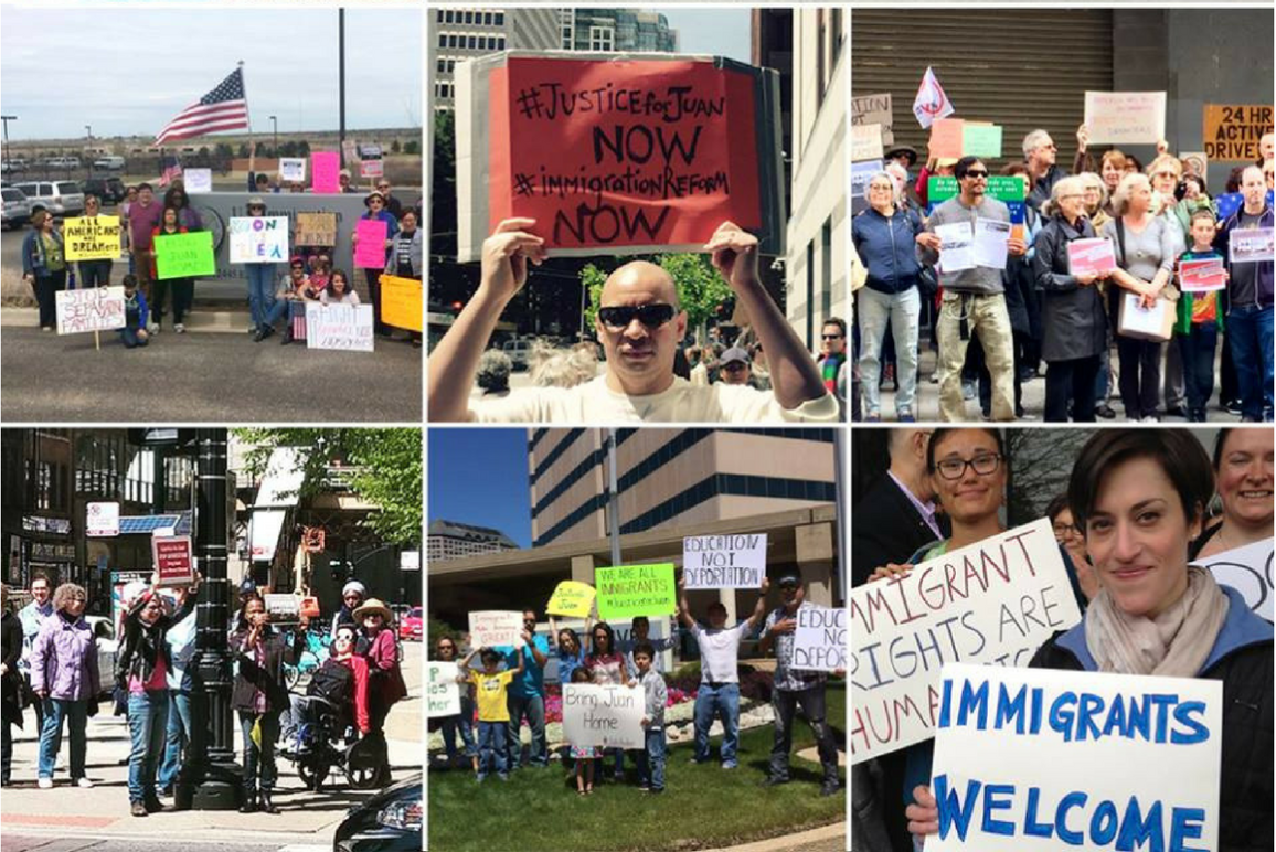 People Power activists protest on the streets for immigrants' rights