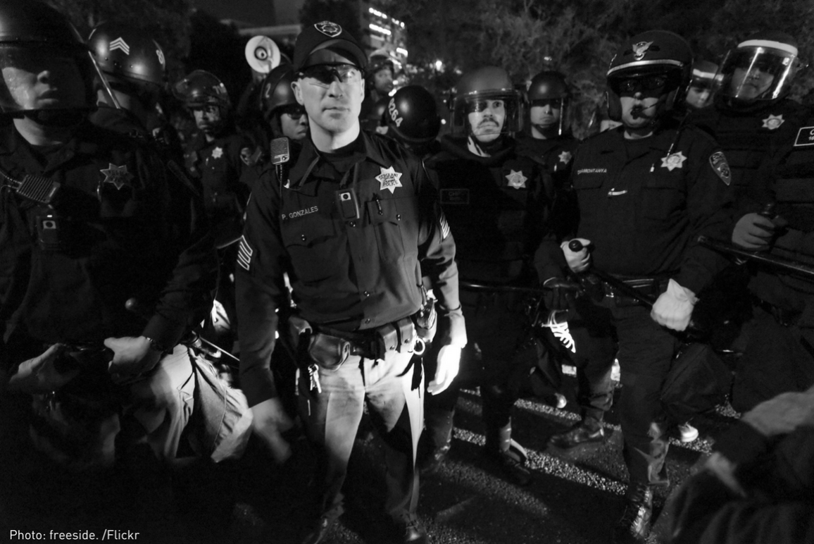 Tuesday night, November 25th, Mike Brown / Ferguson protests. After surrounding the protesters on the 580 freeway, police start making arrests/citations.