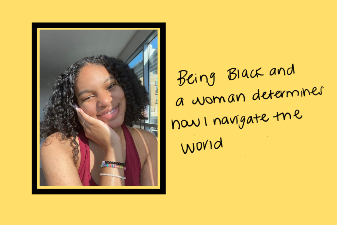 """bright yellow background with Shelby's handwritten message """"Being Black and a woman determines how I navigate the world."""" withe Shelby's photo to the left. Shelby is a young Black woman with shoulder-length curly hair, lovely smile, wearing a red tank top"""
