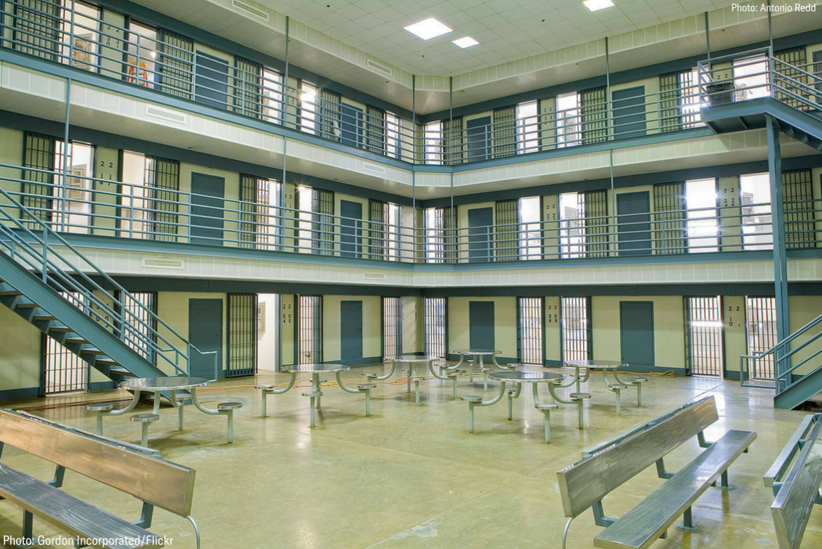 Picture of a three-story segregation unit with cells for solitary confinement