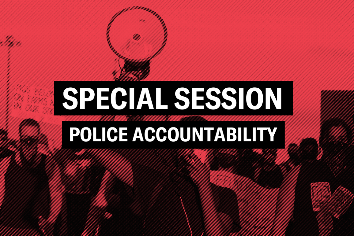 "a graphic featuring protesters holding signs and megaphones with the text ""special session, police accountability"" in the center"