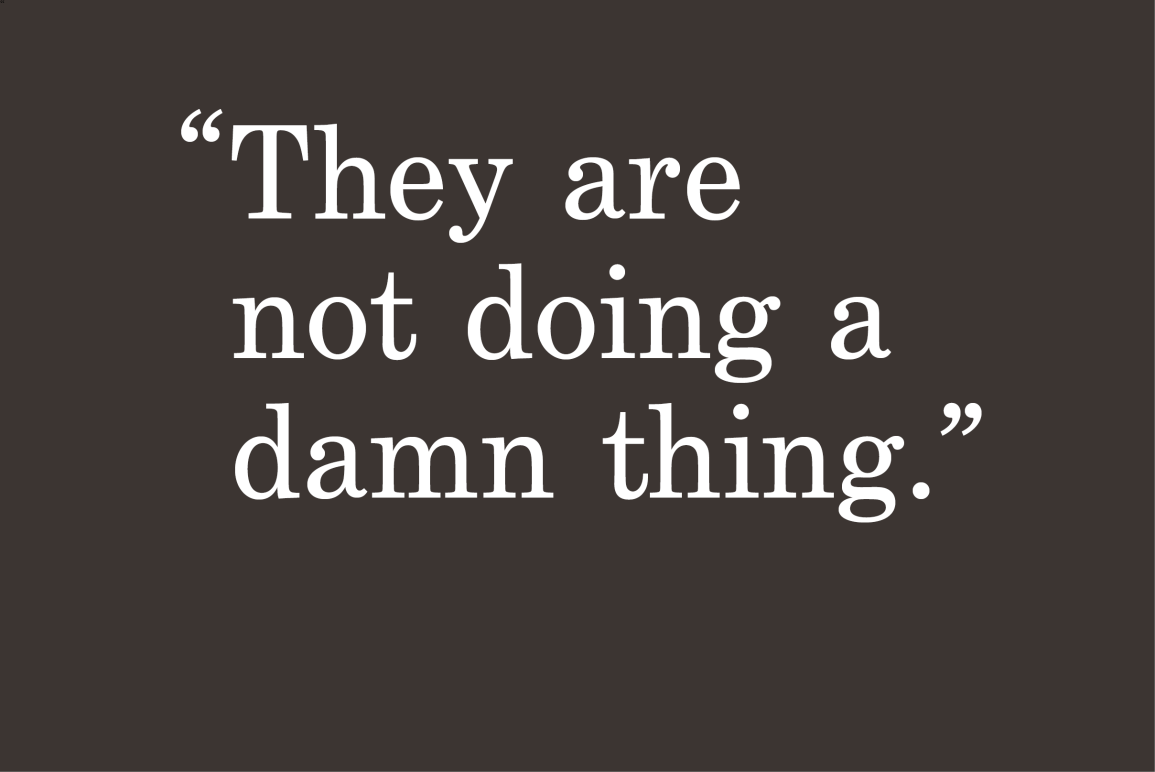 """gray background with a quote """"they are not doing a damn thing"""""""