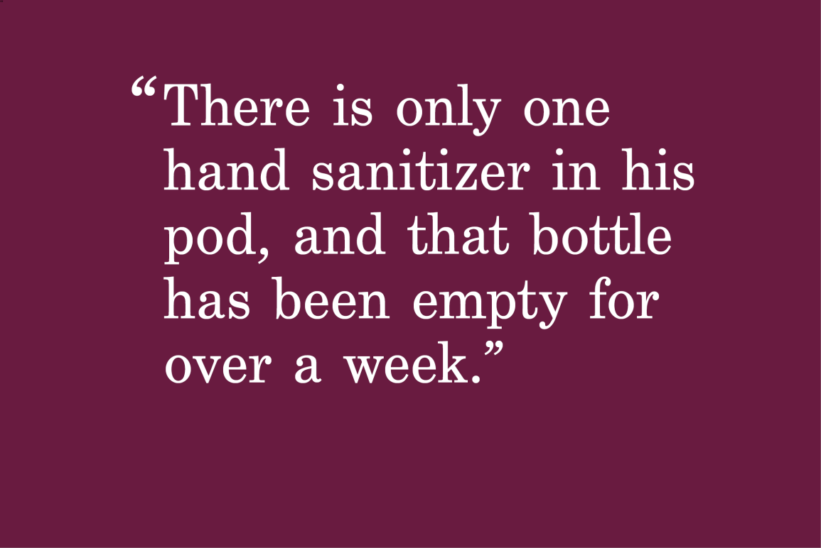 """purple background with a quote that says """"There is only one hand sanitizer in his pod, and that bottle has been empty for over a week."""""""