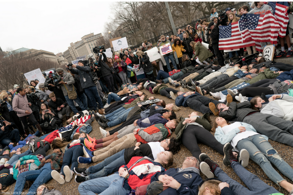 Students lied down en masse to protest gun violence
