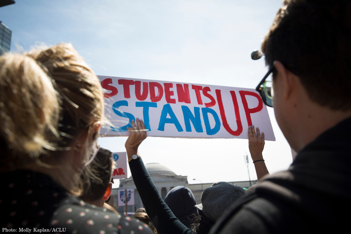 "A student held a sign saying ""Students Stand Up"" in red and blue at the March for Our Lives in 2018"