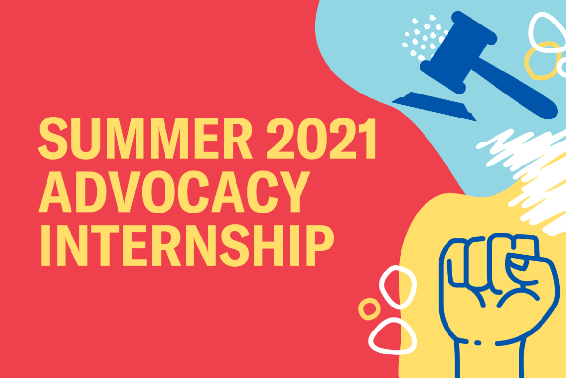 """red background with the word """"summer 2021 advocacy internship"""""""