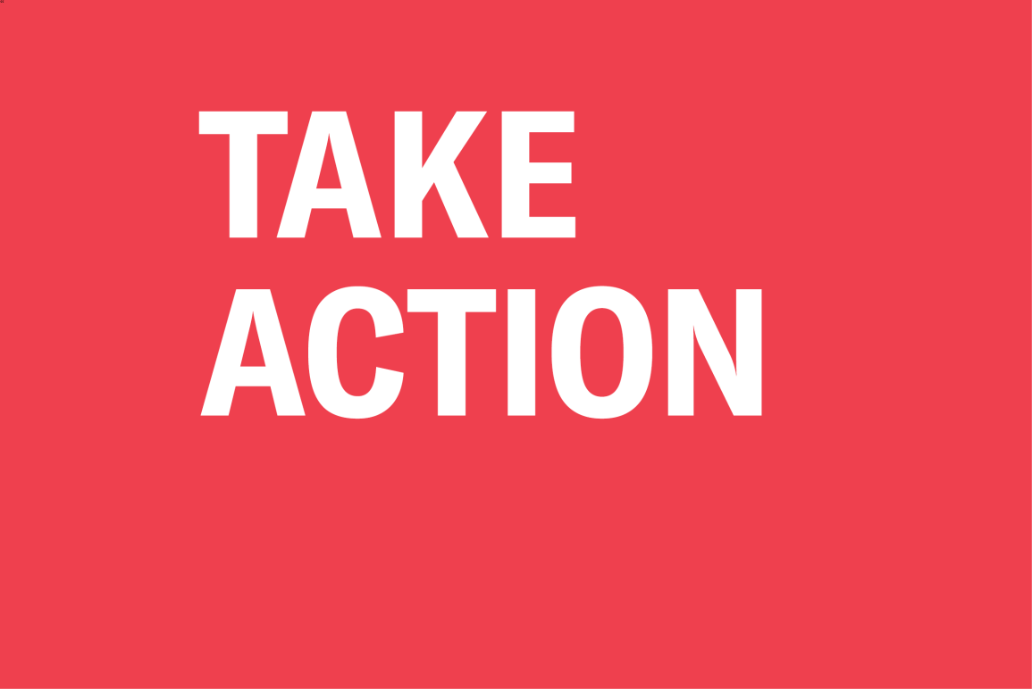 """red background with the words """"Take Action"""""""
