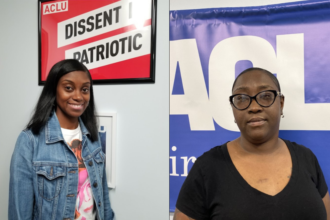 Picture of our clients Tyesha Brooks and Titalayo Shiyanbade, two black women. Tyesha is on the left with long hair, wearing a denim jacket and white t-shirt. Titi is on the right, with short hair (like a crew cut), wearing a black shirt.