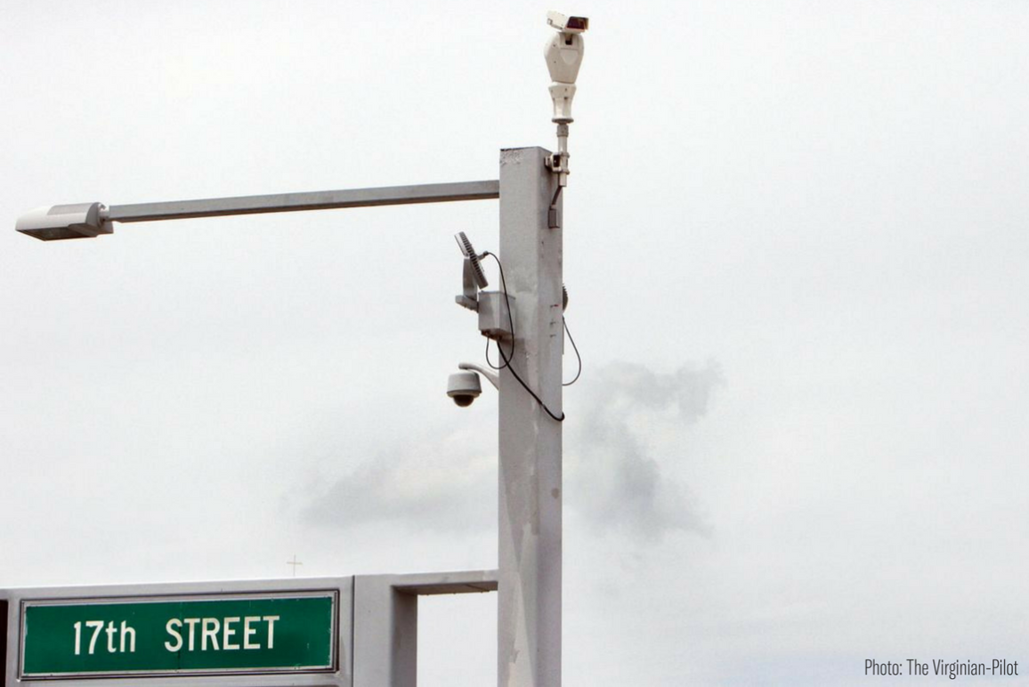 Surveillance cameras at the corner of 17th Street in Virginia Beach
