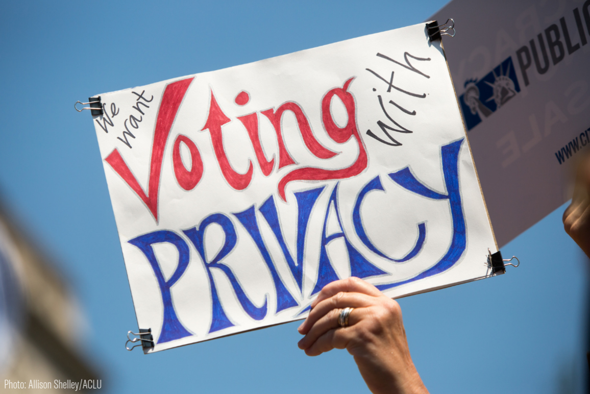 "A sign that says ""Voting With Privacy"""