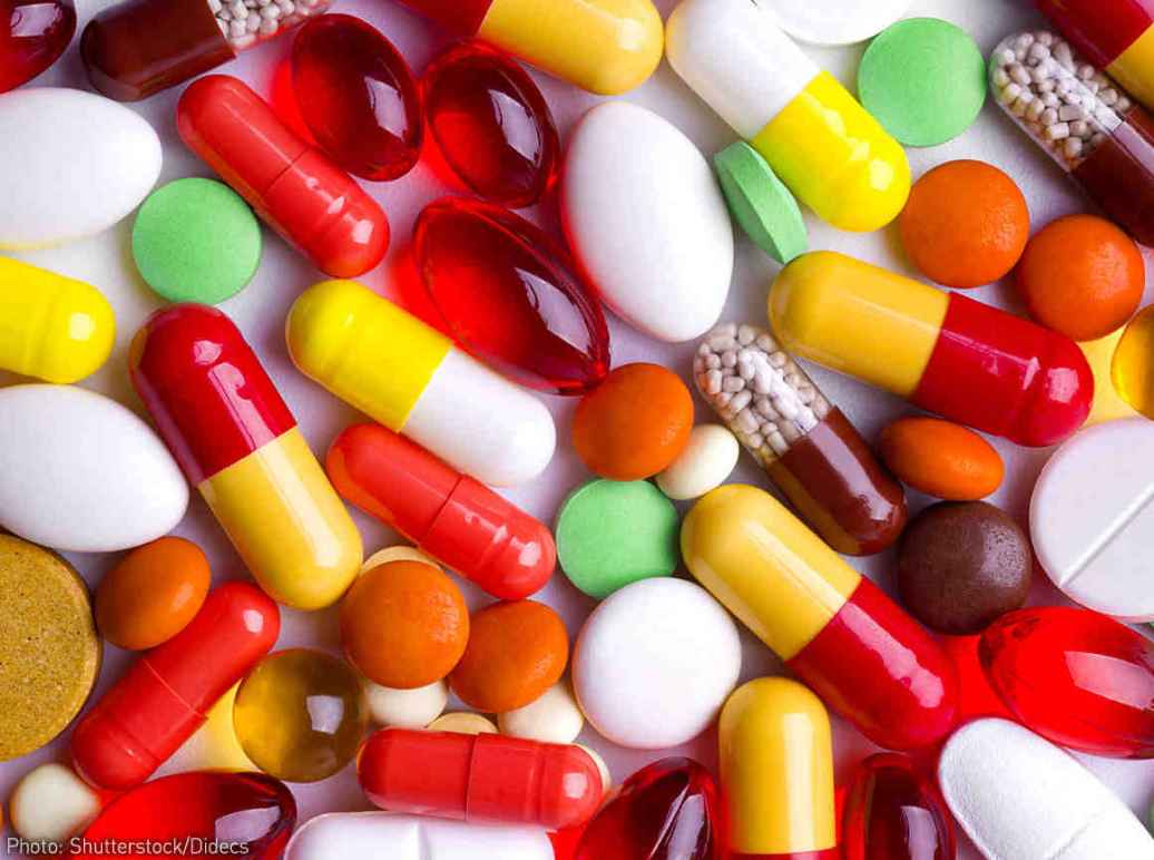 A colorful display of different pills