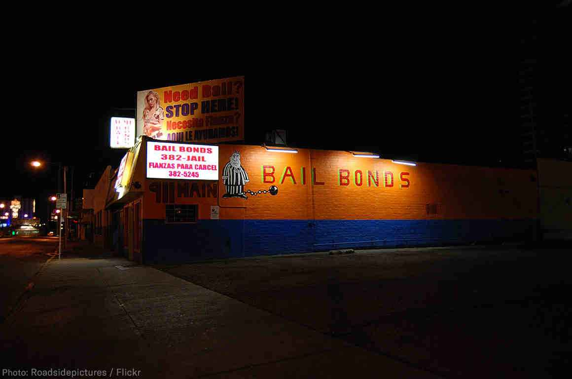 A picture of a brick-and-mortar bail bonds company