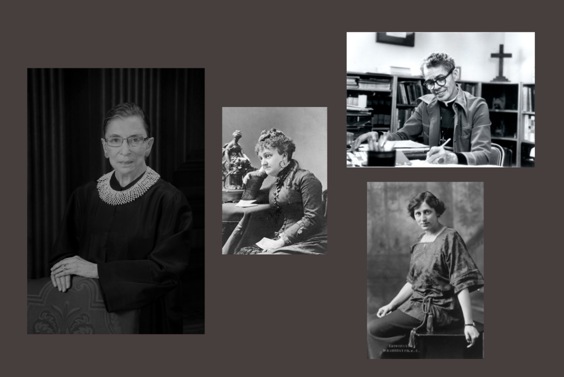 A collage with portrait photos for Ruth Bader Ginsgburg, Myra Bradwell, Pauli Murray, and Crystal Eastman
