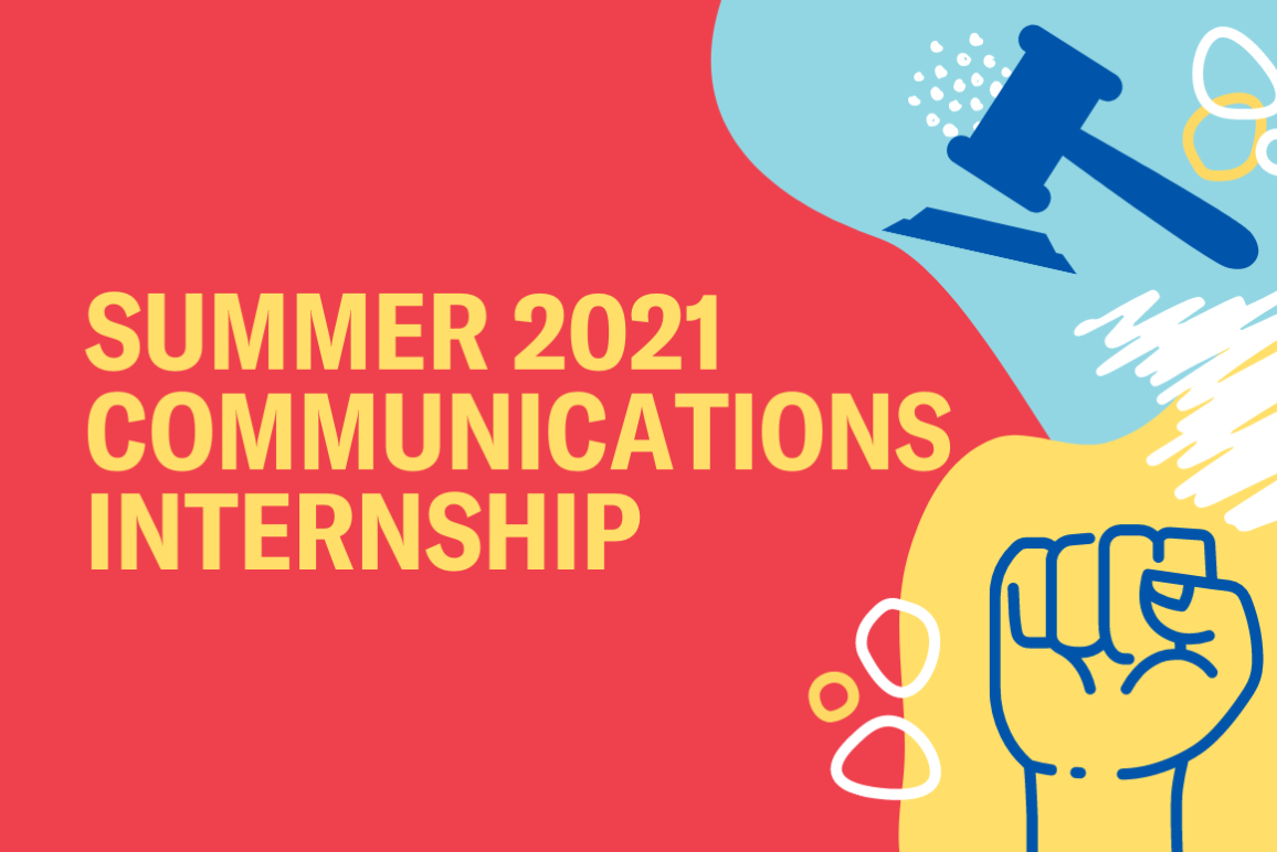 """red background with the word """"summer 2021 communication internship"""""""