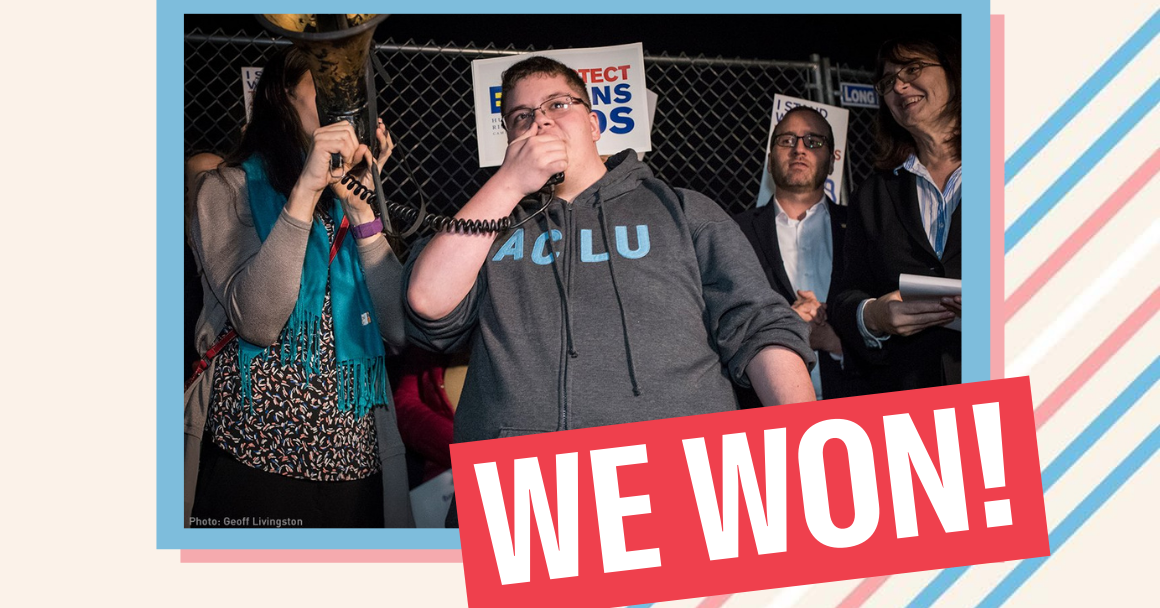 graphic of Gavin Grimm at a protest in 2016, over an off-white background with trans flag color stripes.