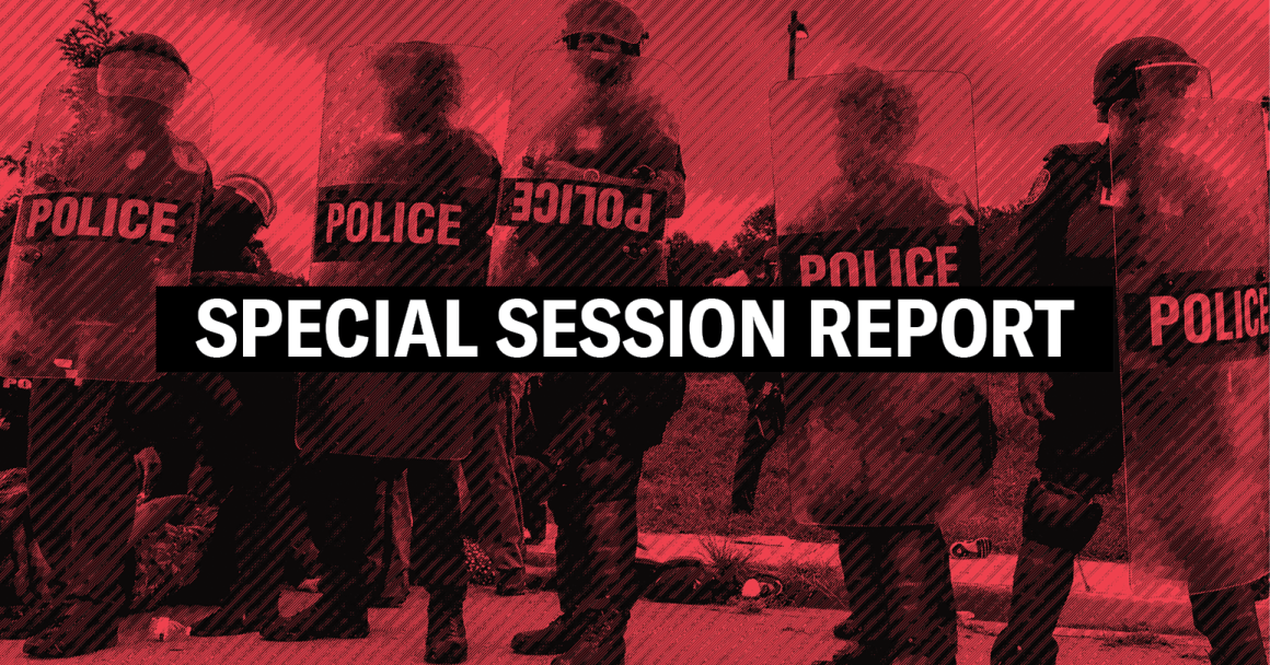 "background of police standing in a row, with the word ""special session report"" on top"