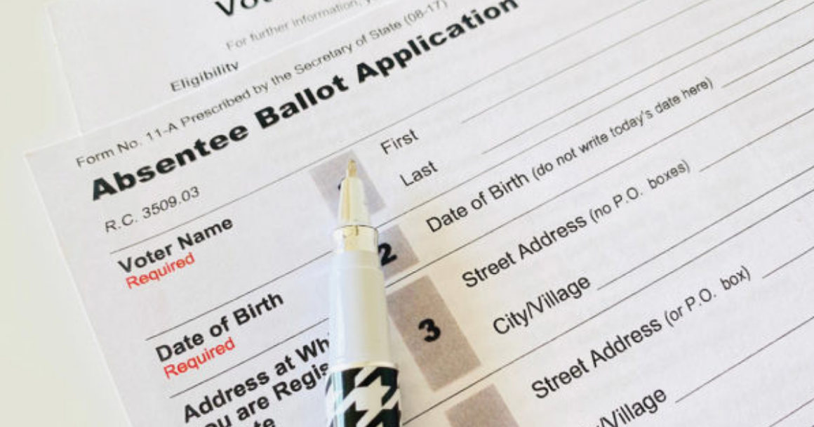 stock photo of an absentee ballot application