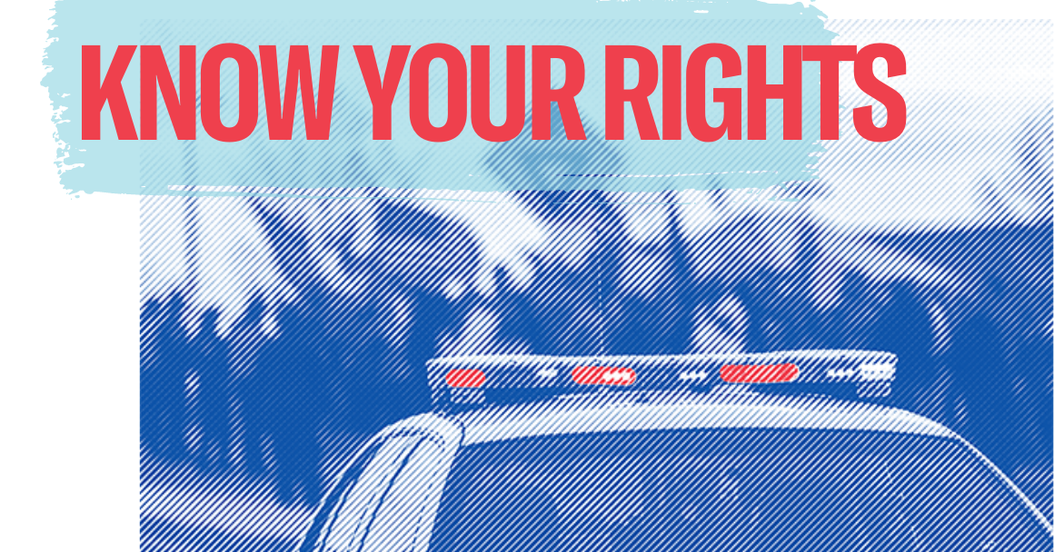 """a photo of police car with protesters in the background, with the word """"know your rights"""" on top."""