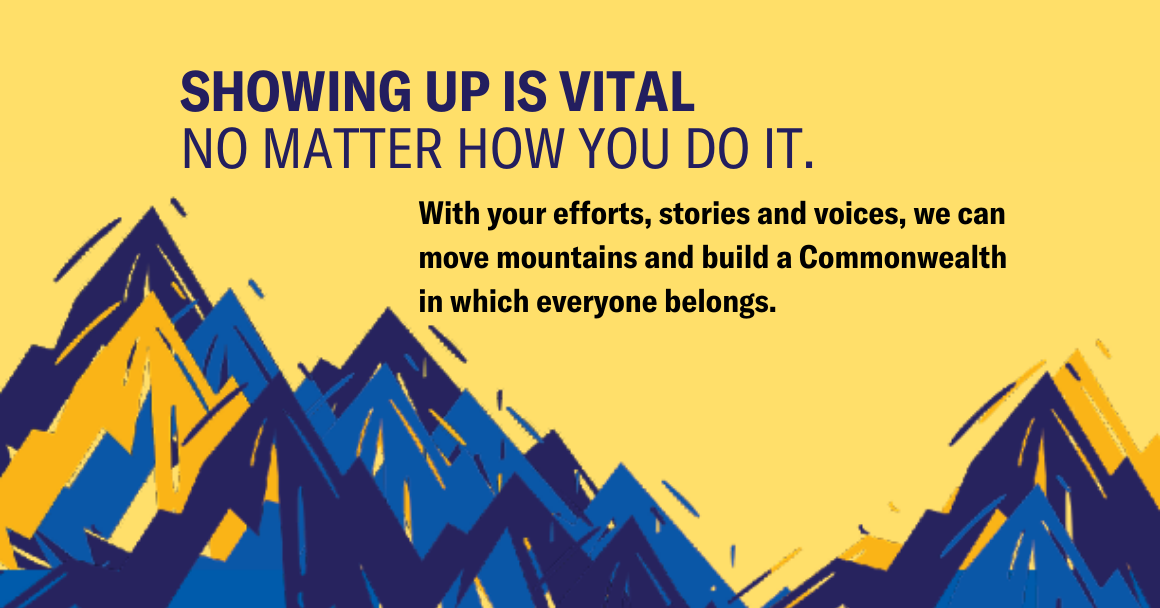 "infographic of Virginia's Blue Ridge Mountain along with the tagline ""Showing up is vital no matter how you do it."""